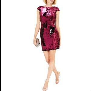 Adrianna Papell Fuchsia Sequin Two Tone Mini Dress